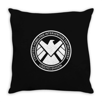 Agents Of Shield   White Throw Pillow Designed By Beach Boy