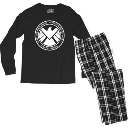 Agents Of Shield   White Men's Long Sleeve Pajama Set Designed By Beach Boy