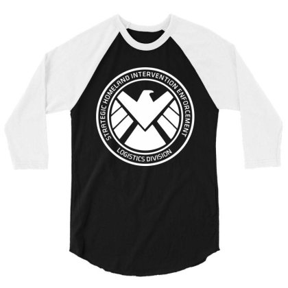 Agents Of Shield   White 3/4 Sleeve Shirt Designed By Beach Boy