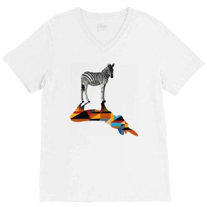 Awesome Zebra V-neck Tee Designed By Beach Boy