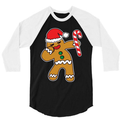 Christmas Cookie Dabbing Gingerbread Man 3/4 Sleeve Shirt Designed By Beach Boy