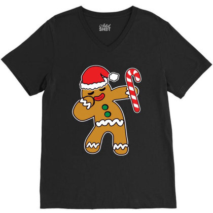 Christmas Cookie Dabbing Gingerbread Man V-neck Tee Designed By Beach Boy