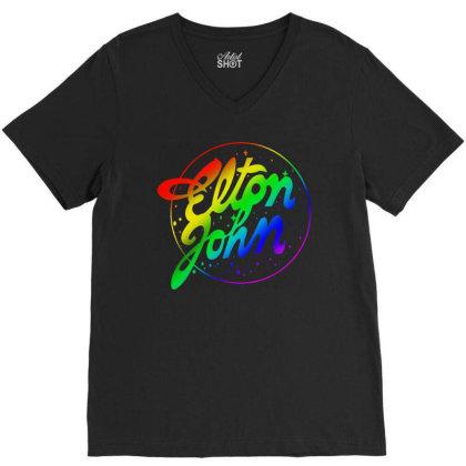 Elton John Official Rainbow V-neck Tee Designed By Beach Boy