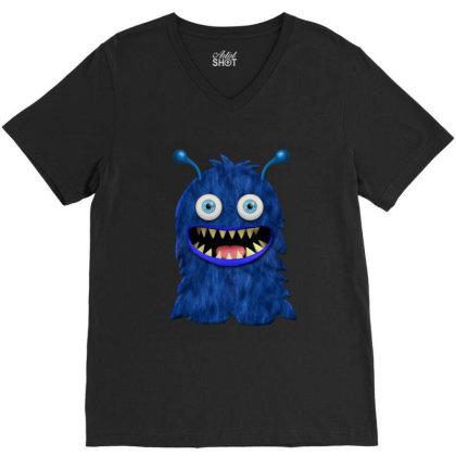 Cute Monster Baby Monster Face Eye Funny Halloween Gift V-neck Tee Designed By Love Shiga