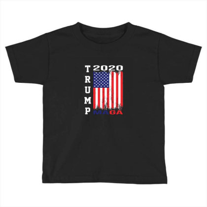 President Trump 2020 Maga American Flag Toddler T-shirt Designed By Min'snd