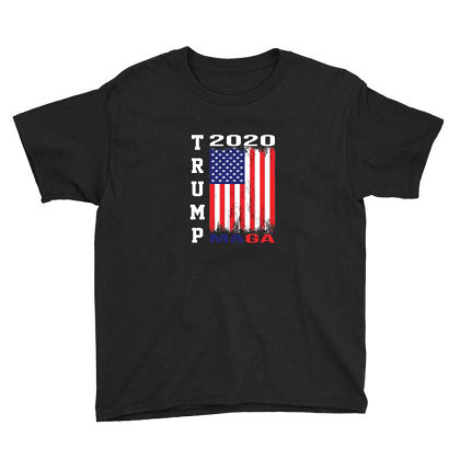 President Trump 2020 Maga American Flag Youth Tee Designed By Min'snd