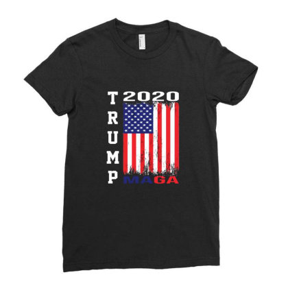 President Trump 2020 Maga American Flag Ladies Fitted T-shirt Designed By Min'snd