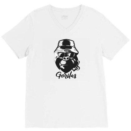 Smoker Gorilla Shirt V-neck Tee Designed By Jhanafi