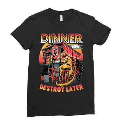 Dinner Now Destroy Later Ladies Fitted T-shirt Designed By Glitchygorilla