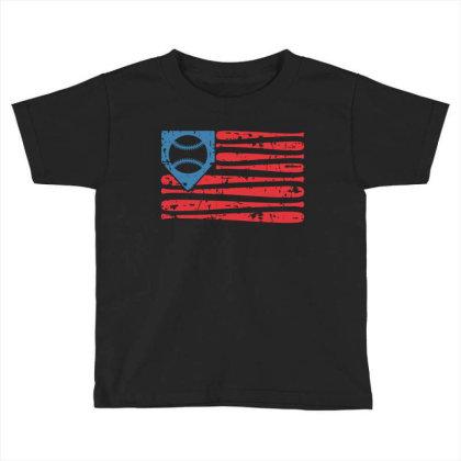 Baseball American Flag Toddler T-shirt Designed By Badaudesign