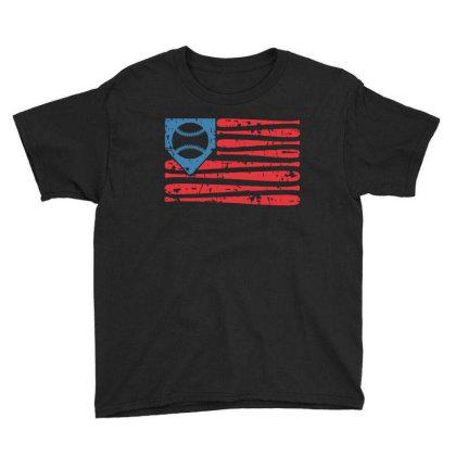 Baseball American Flag Youth Tee Designed By Badaudesign