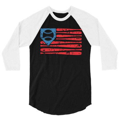 Baseball American Flag 3/4 Sleeve Shirt Designed By Badaudesign