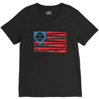 Baseball American Flag V-neck Tee Designed By Badaudesign