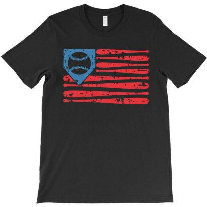 Baseball American Flag T-shirt Designed By Badaudesign