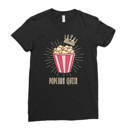 Popcorn Queen | Cinema Movie Lover Ladies Fitted T-shirt Designed By John Phillips