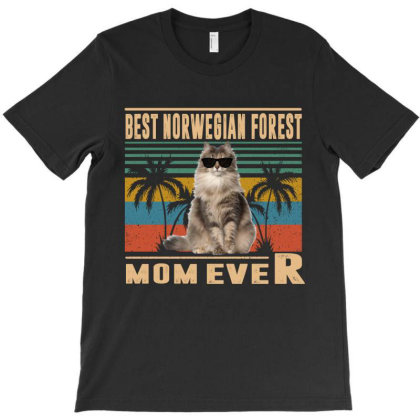 Vintage Best Cat Mom Ever Norwegian Forest Funny Mothers Day T-shirt Designed By Love Shiga