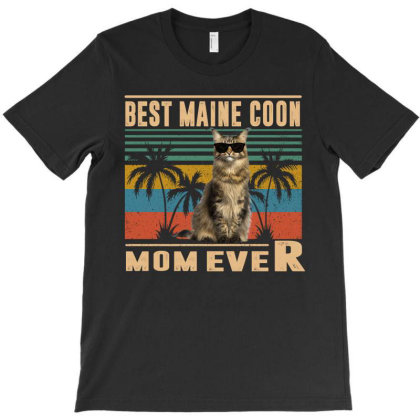 Vintage Best Cat Mom Ever Maine Coon Cat Funny Mothers Day T-shirt Designed By Love Shiga