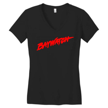 Baywatch Lifeguards Tv Show Women's V-neck T-shirt Designed By L4l4pow