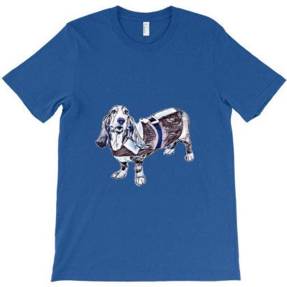 A Basset Hound Dog Wearing A T-shirt Designed By Kemnabi