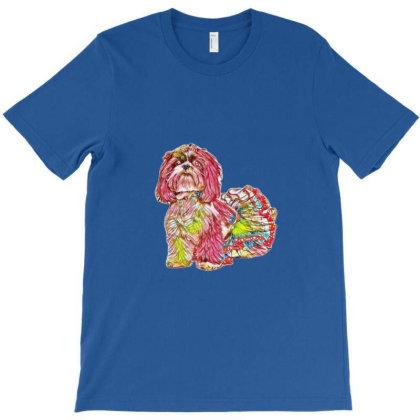 Shih Tzu Dog Siting On A Whit T-shirt Designed By Kemnabi