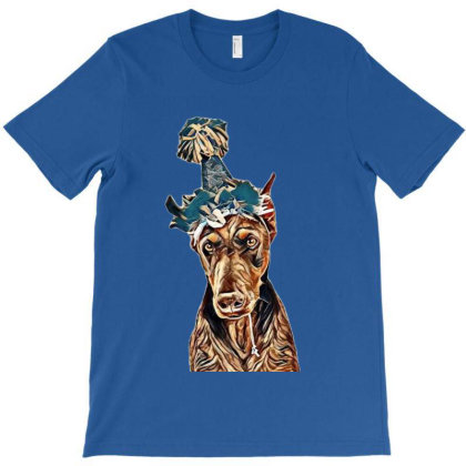 Doberman Pinscher Dog Wearing T-shirt Designed By Kemnabi