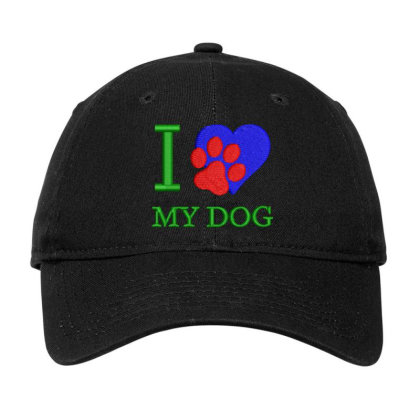 I Love My Dog Embroidered Hat Adjustable Cap Designed By Madhatter