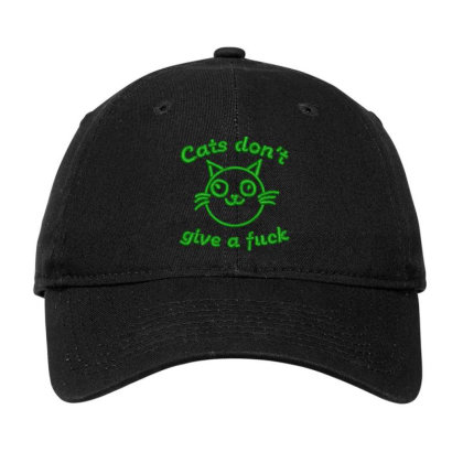 Cats Don't Give A Fuck Embroidered Hat Adjustable Cap Designed By Madhatter