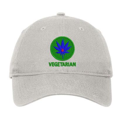 Vegetarian Embroidered Hat Adjustable Cap Designed By Madhatter