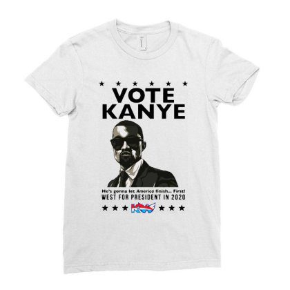 Kanye Graduates From Hip Hop To Politics Ladies Fitted T-shirt Designed By Donkey Apparel
