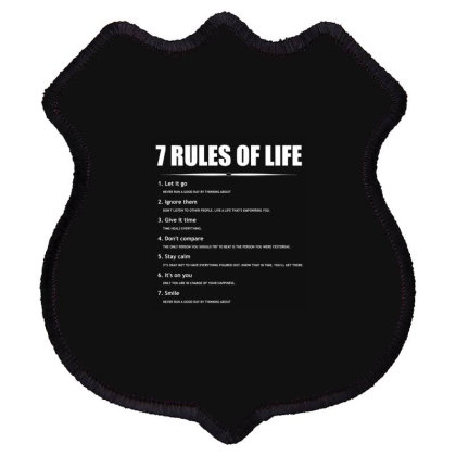 7 Rules Of Life... Inspirational Fashion Shield Patch Designed By Word Power
