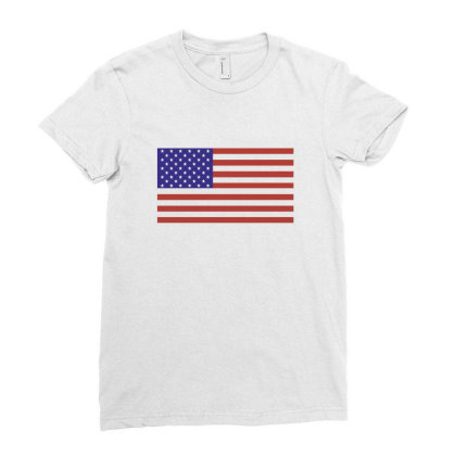 American Flag Ladies Fitted T-shirt Designed By Estore