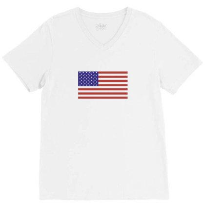 American Flag V-neck Tee Designed By Estore