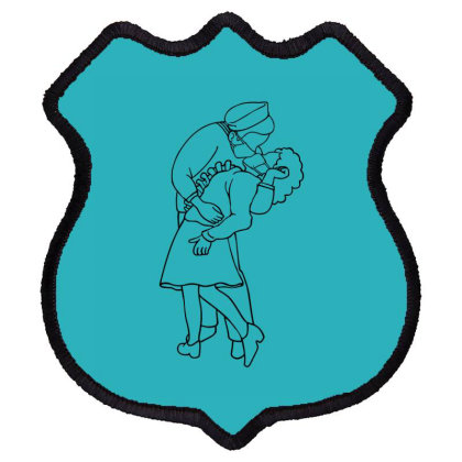 Couple Kissing Shield Patch Designed By Chiks