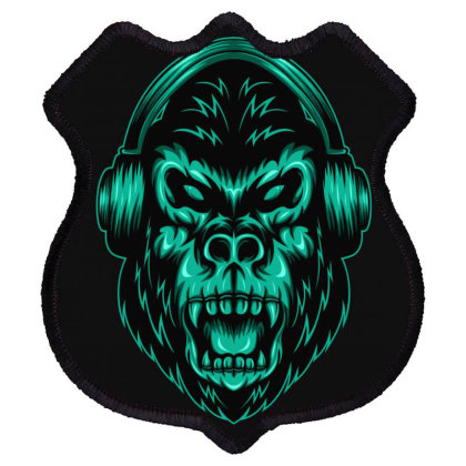 Gorilla Listening To Music Shield Patch Designed By Chris299