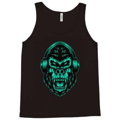 Gorilla Listening To Music Tank Top Designed By Chris299