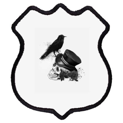 Skull With Top Hat And Dark Crow Shield Patch Designed By Chris299