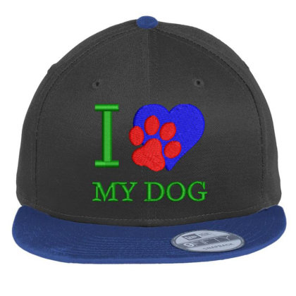 I Love My Dog Embroidered Hat Flat Bill Snapback Cap Designed By Madhatter