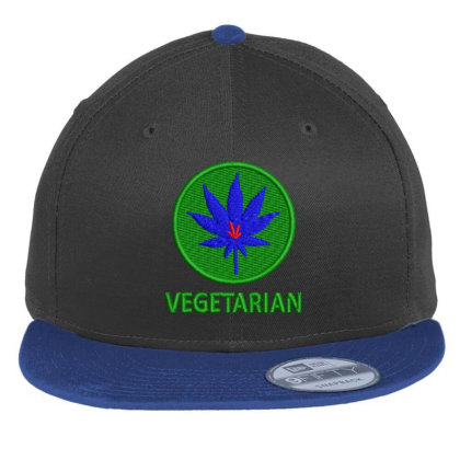 Vegetarian Embroidered Hat Flat Bill Snapback Cap Designed By Madhatter