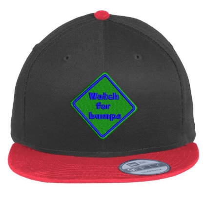 Watch For Bumps Embroidered Hat Flat Bill Snapback Cap Designed By Madhatter