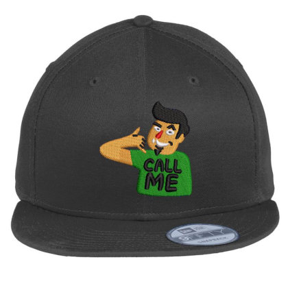 Call Me Embroidered Hat Flat Bill Snapback Cap Designed By Madhatter