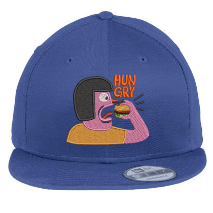 Hungry Embroidered Hat Flat Bill Snapback Cap Designed By Madhatter