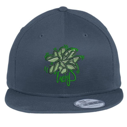 Lucky Embroidered Hat Flat Bill Snapback Cap Designed By Madhatter