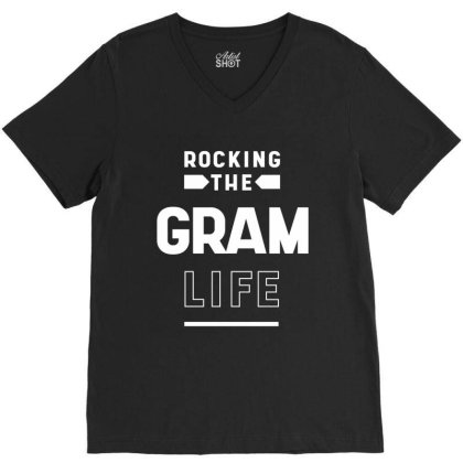 Cute Mother's Day Gift Grandmothers Rocking The Gram Life V-neck Tee Designed By Diogo Calheiros