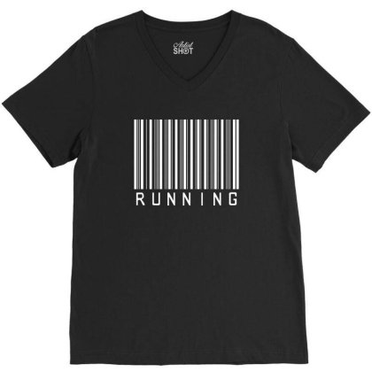 Running Barcode V-neck Tee Designed By Lawrensia