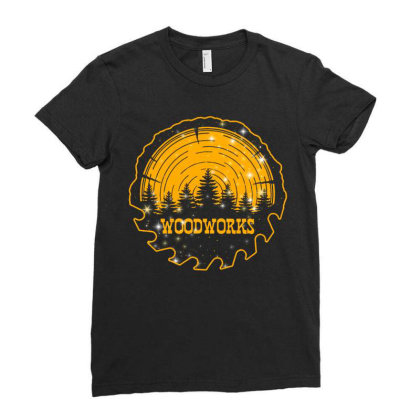 Woodworks Ladies Fitted T-shirt Designed By Badaudesign