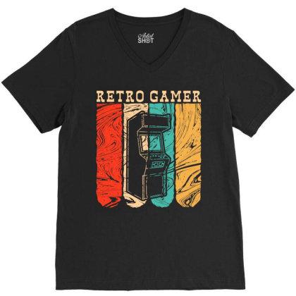 Retro Gamer V-neck Tee Designed By Badaudesign