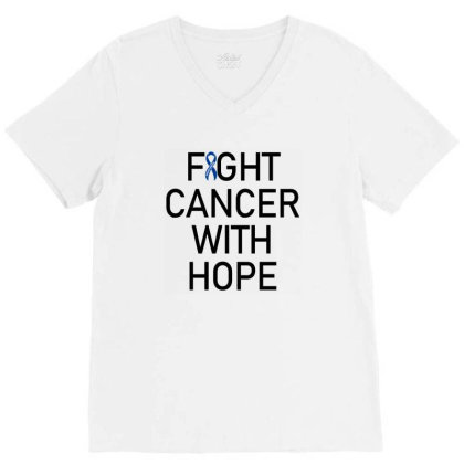 Fight Cancer With Hope V-neck Tee Designed By Meza Design