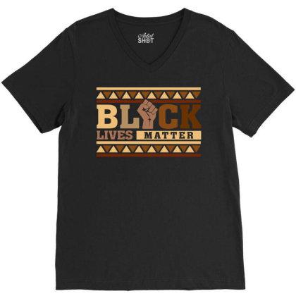 Black Lives Matter V-neck Tee Designed By Badaudesign