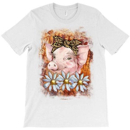 Watercolor Pig Girl T-shirt Designed By Badaudesign