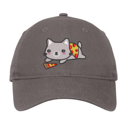 Cat With Pizza Embroidered Hat Adjustable Cap Designed By Madhatter